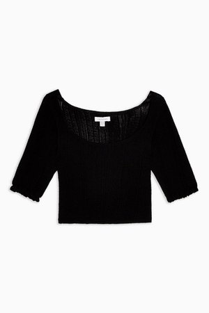 IDOL Black Frill Knitted Top | Topshop