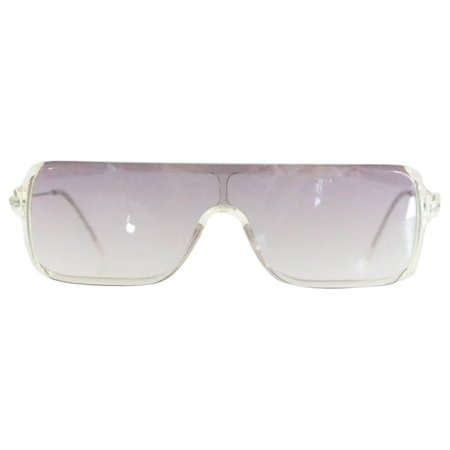 Prada Clear Rectangular Sunglasses with Purple Tinted Lenses For Sale at 1stdibs