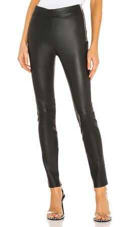 Helmut Lang Zip Leather Legging in Onyx | REVOLVE