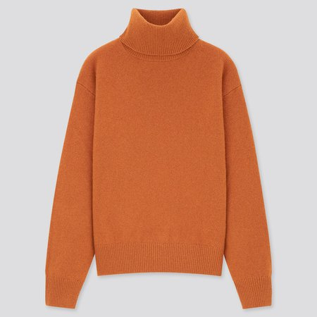 WOMEN PREMIUM LAMBSWOOL TURTLENECK SWEATER | UNIQLO US orange