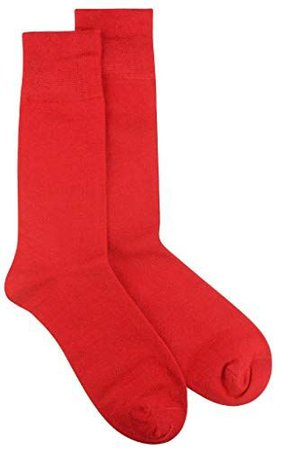 1 Pair of Biagio Solid RED Color Men's COTTON Dress SOCKS at Amazon Men's Clothing store: