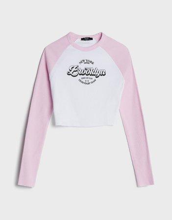 Raglan sleeve T-shirt with print - New - Bershka United States