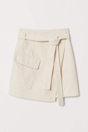 Wrapover Twill Skirt - White