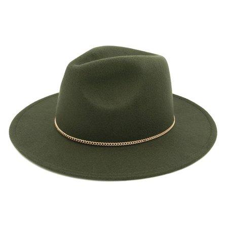 """TrendsBlue - Premium 3"""" Wide Brim Solid Color Hunter Green Felt Gold Chain Fedora Panama Hat - Walmart.com - Walmart.com"""