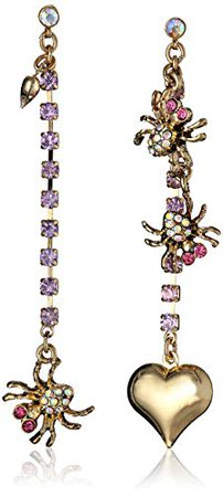 """Betsey Johnson """"Enchanted Forest"""" Spider and Heart Mismatch Drop Earrings: Jewelry"""