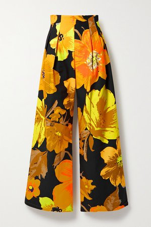 Pleated Floral-print Cotton-twill Wide-leg Pants - Orange