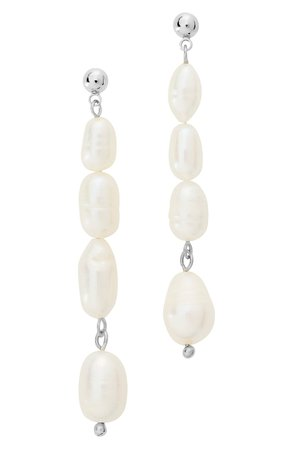 Sterling Forever Natural Pearl Linear Drop Post Earrings | Nordstrom