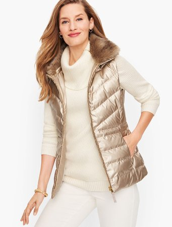 Faux Fur Collar Quilted Puffer Vest - Metallic