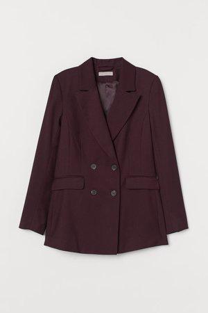 Double-breasted Jacket - Burgundy - Ladies | H&M US