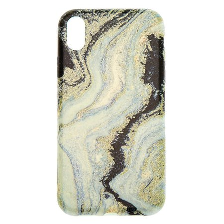 Black & Silver Glitter Agate Phone Case - Fits iPhone XR | Claire's US