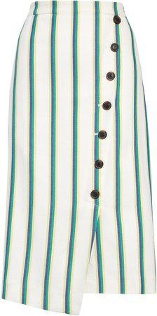 Stripe Faux Wrap Pencil Skirt