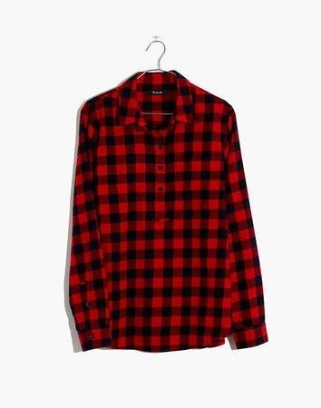 Flannel Popover Shirt in Buffalo Check
