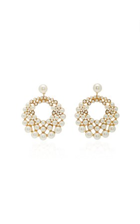 Prianna Gold-Plated Swarovski Pearl Earrings by Jennifer Behr | Moda Operandi