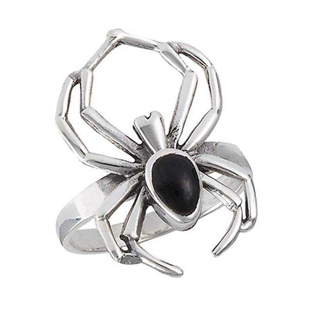 Amazon.com: Simulated Black Onyx Wide Scary Spider Ring New .925 Sterling Silver Band Sizes 7-12: Clothing