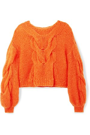 Loewe | Oversized cable and open-knit mohair-blend sweater | NET-A-PORTER.COM