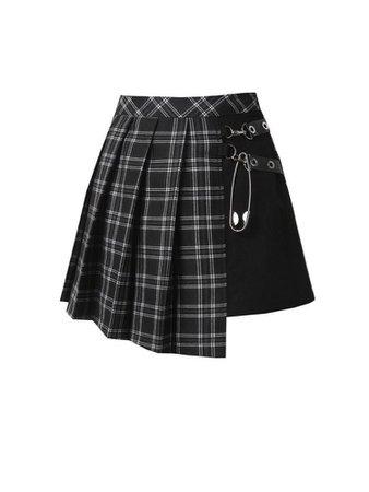 Black and white grid skirt