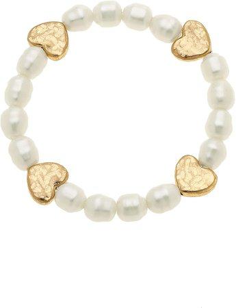 Sarah Heart Set of 2 Imitation Pearl Stretch Bracelets