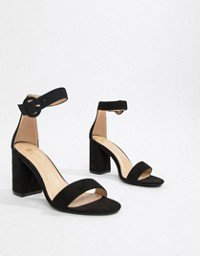 New Look barely there heeled sandal in black | ASOS