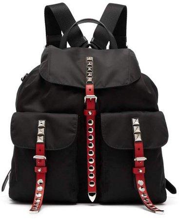 Stud Embellished Nylon Backpack - Womens - Black Multi