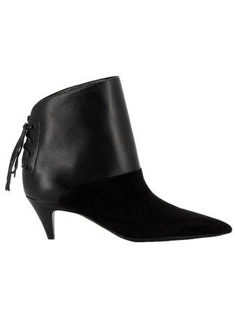 Saint Laurent Black Leather/suede Ankle Boots