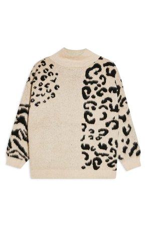 Topshop Mix Print Mock Neck Sweater | Nordstrom