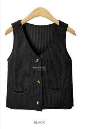 2018 Burgundy Sweater Vest Cardigan Women V Neck Buttons Pockets Knitted Tricot Beige Black Gray Green C79904 From Zanzibar, $37.87   Dhgate.Com