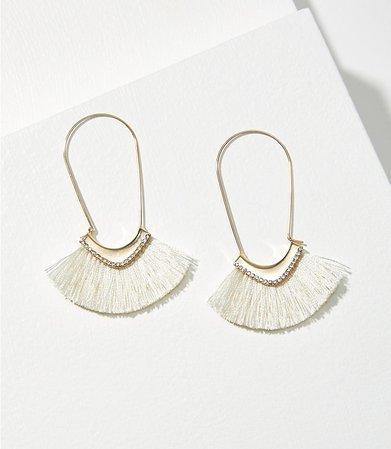 Rhinestone Fabric Hoop Earrings | LOFT
