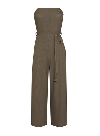 Khaki Bandeau Jumpsuit | Miss Selfridge