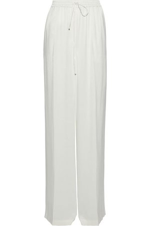 satin-crepe wide leg pants