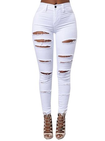 High Waist Solid Color Ripped Hole Women's Jeans : Tidebuy.com