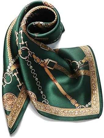 100% Pure Mulberry Silk Small Square Scarf -21'' x 21''- Breathable Lightweight Neckerchief -Digital Printed Headscarf (Blackish Green) at Amazon Women's Clothing store