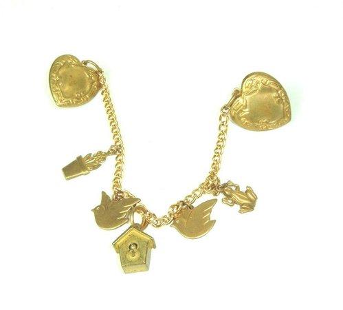 Vintage Brass Chain Swag Double Pin Brooch birds heart flowers frog | eBay