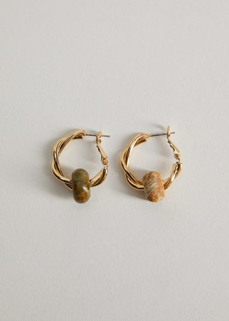 Combined stones earrings - Women | Mango USA gold