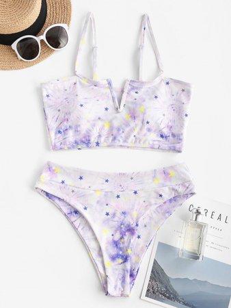 [61% OFF] 2021 ZAFUL Tie Dye Star V Wired Ribbed Tankini Swimwear In WHITE   ZAFUL
