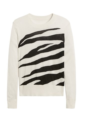 Banana Republic Silk Cashmere Relaxed Zebra Sweater