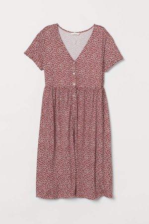 MAMA V-neck Jersey Dress - Red