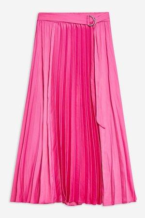 Satin Pleat Midi Skirt | Topshop pink