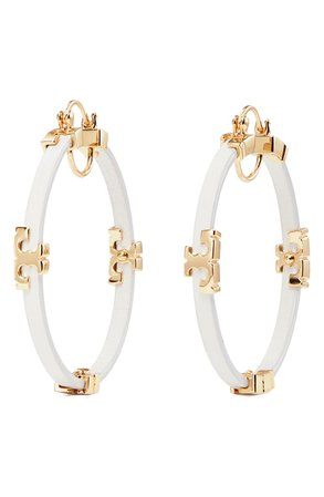 Tory Burch Kira Leather Hoop Earrings | Nordstrom
