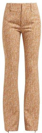 Tweed Print Ankle Zip Crepe Flared Trousers - Womens - Brown