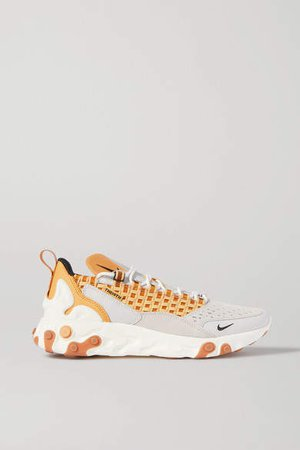 React Sertu Leather, Nubuck And Canvas Sneakers - Beige