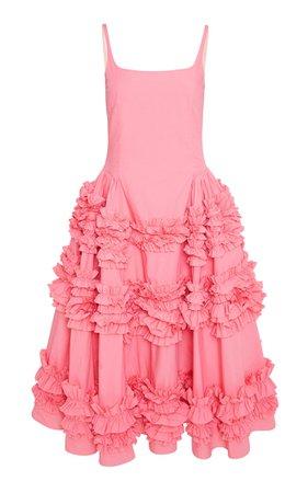 Angie Frilled Cotton Midi Dress By Molly Goddard   Moda Operandi