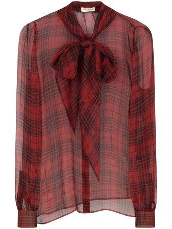 Saint Laurent semi-sheer bow-detail Silk Blouse - Farfetch