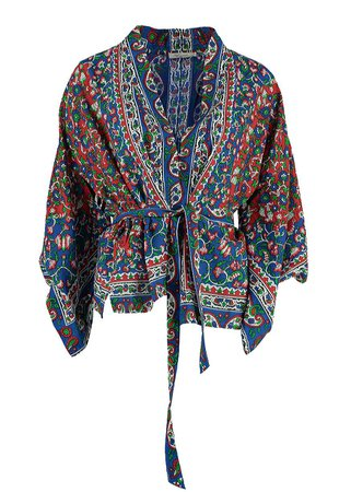 Mes Demoiselles Printed Cotton Blend Kimono-top