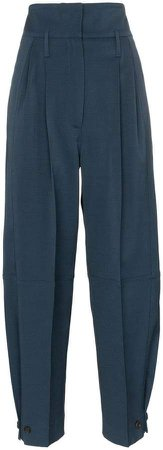high-waisted belted tailored trousers