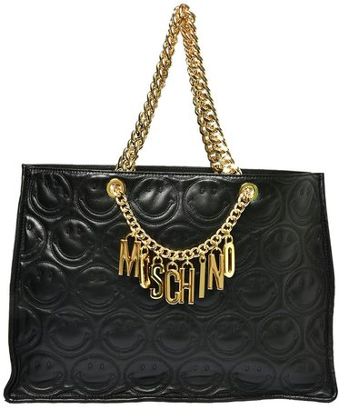 Logo Smiley Face Quilted Leather Tote