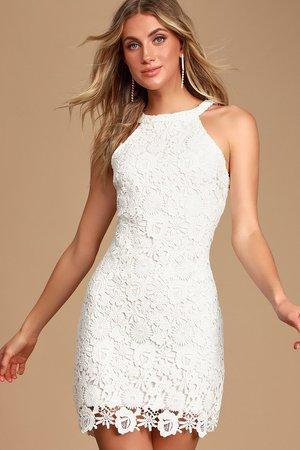 Lace Mini Dress - Ivory Dress - Halter Dresses - Sheath Dress