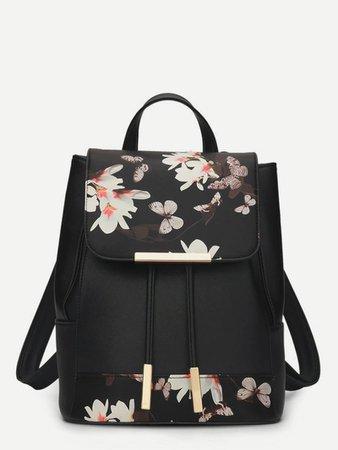 Mochila con solapa con estampado floral | ROMWE