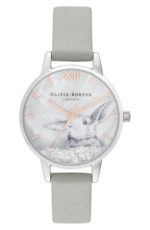Olivia Burton Winter Wonderland Leather Strap Watch, 30mm