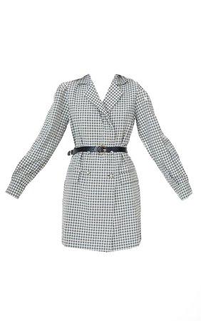Beige Check Print Belted Blazer Dress | PrettyLittleThing USA