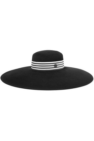 Maison Michel | Bianca striped rabbit-felt hat
